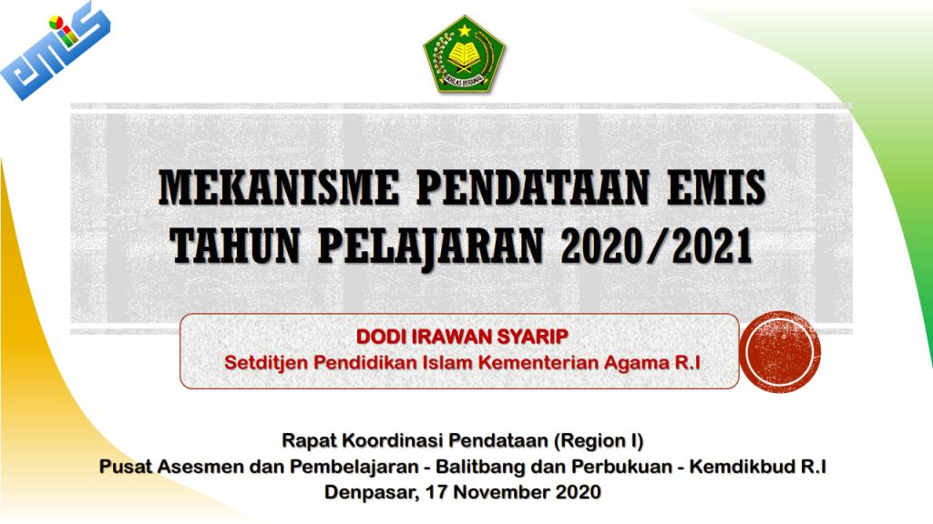 Mekanisme Pendataan EMIS Tahun Pelajaran 2020/2021 - MA ...