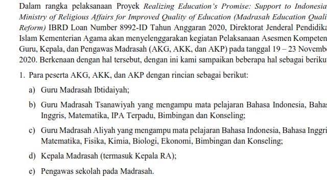 Pelaksanaaan Asesmen Kompetensi Guru, Kepala, dan Pengawas Madrasah