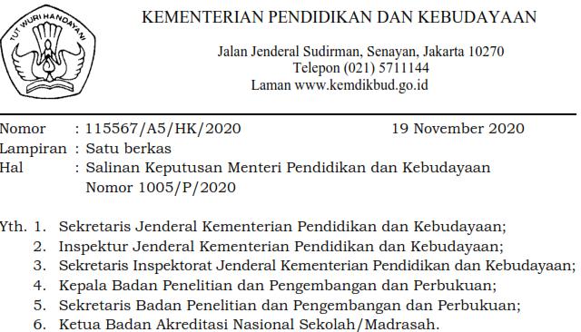 Salinan Keputusan Menteri Pendidikan dan Kebudayaan Tentang Perangkat Akreditasi
