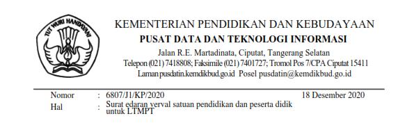 Verifikasi dan Validasi Peserta Didik Untuk LTMPT