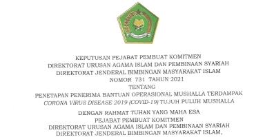 Penetapan Penerima Bantuan Operasional Mushalla Terdampak Corona Virus Desease 2019 (Covid-19)